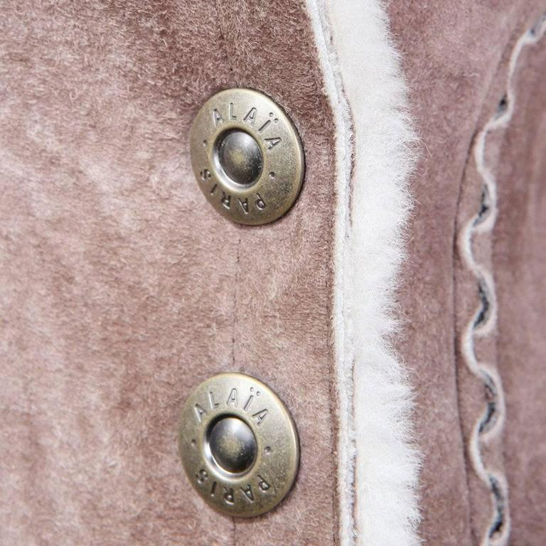 Brown Alaia Suede Shearling Coat, Modern For Sale