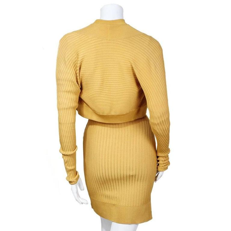 Alaia Ribbed Knit Dress and Cardigan circa 1980s 3