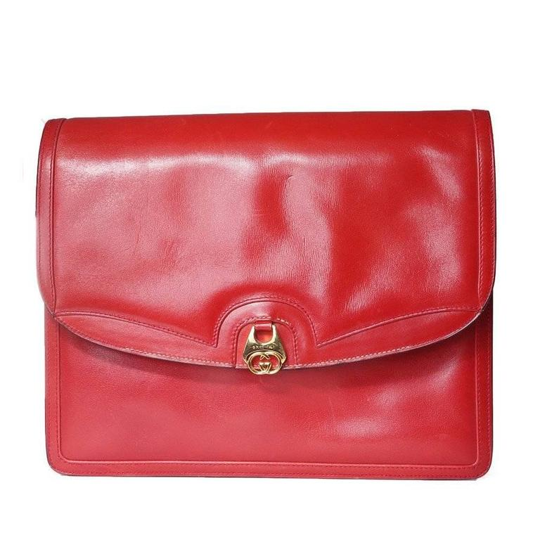 25b0f5c15b7a Gucci Red Leather Shoulder Flap Bag circa 1970s