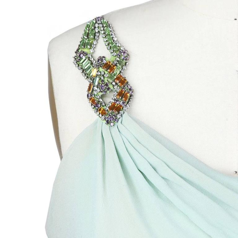 Blue Versace Atelier One Shoulder Silk Dress circa late 1980s. For Sale