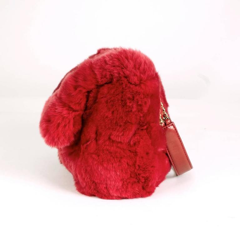 Chanel Red Chinchilla Flap Bag from 2005 2