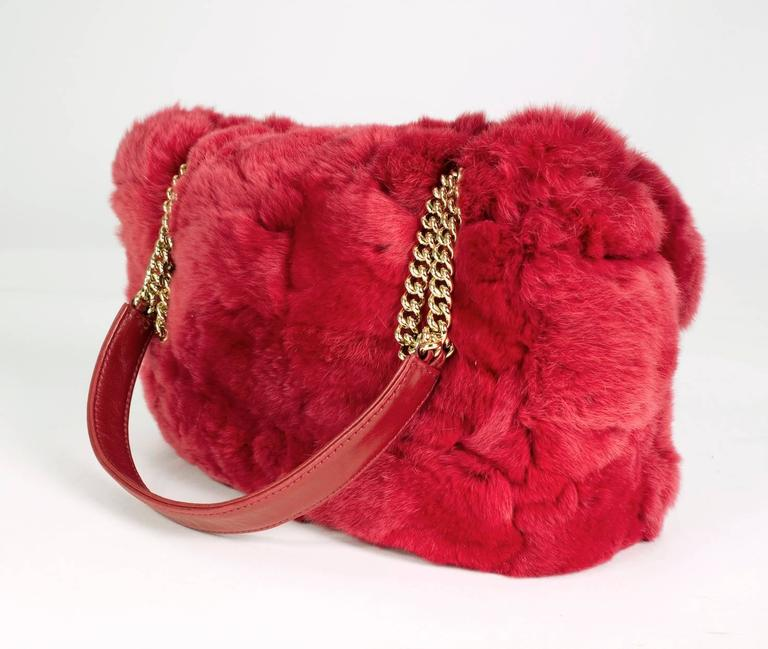 Chanel Red Chinchilla Flap Bag from 2005 4
