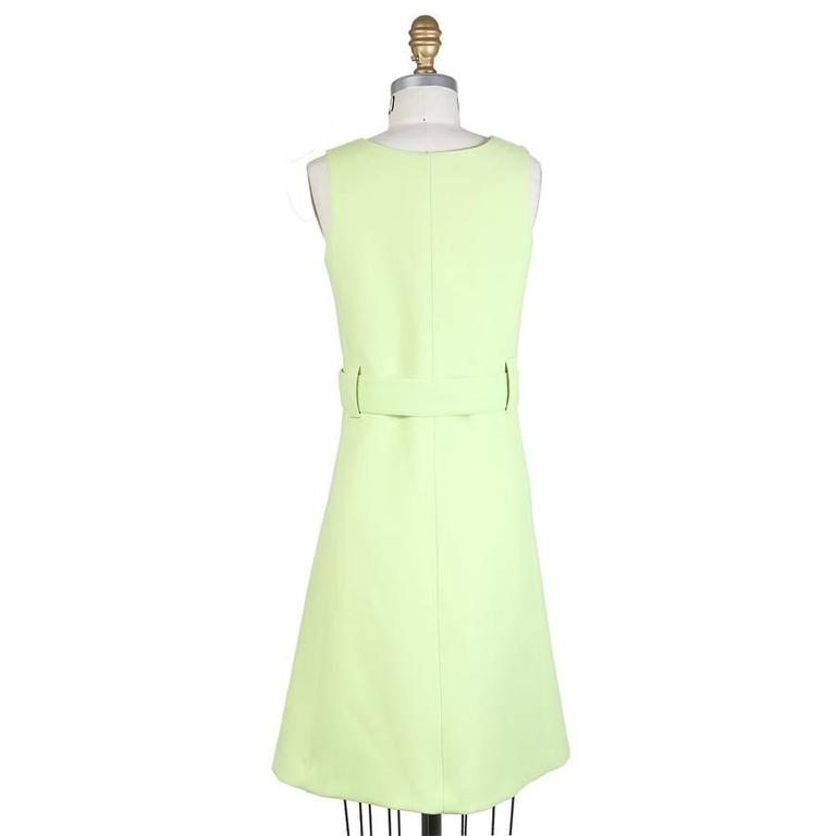 Courreges Bright Green Wool Shift Dress circa 1960s 2