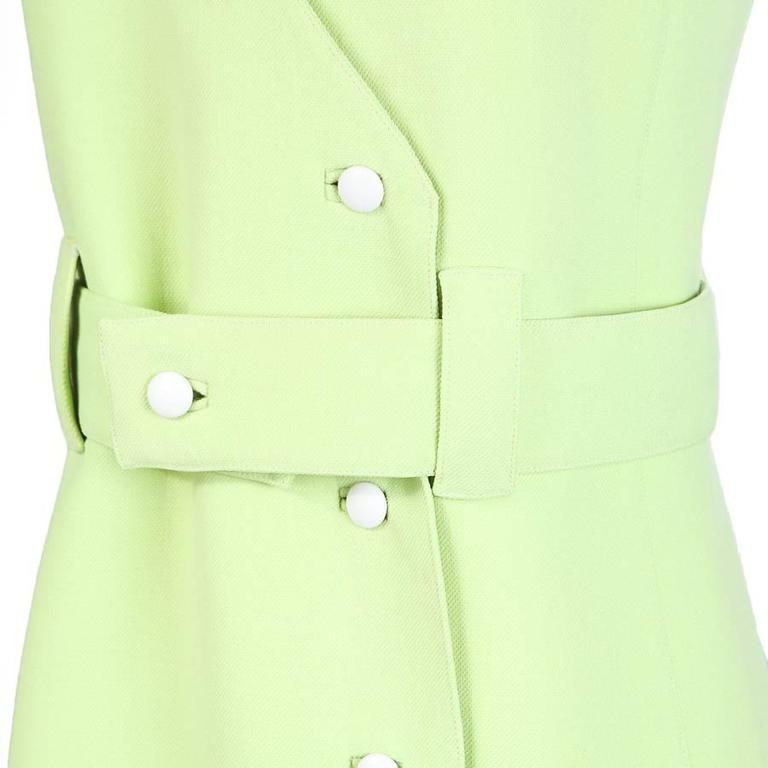 Courreges Bright Green Wool Shift Dress circa 1960s 3