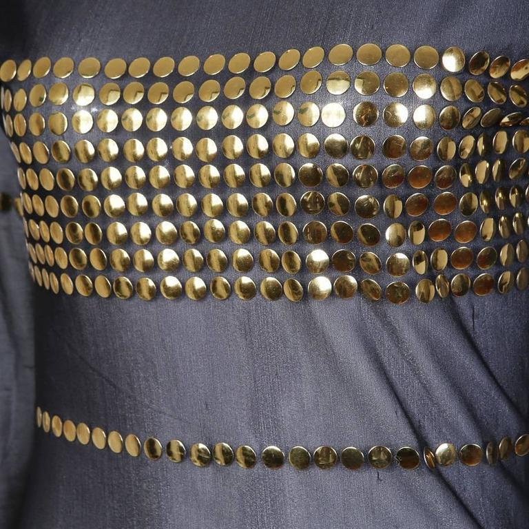 Black Todd Oldham Mesh and Gold Button Dress circa 1990s For Sale