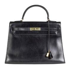 Hermes Black Leather Kelly Bag, 1975