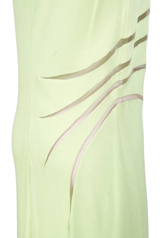 Versace Mint Colored Dress with Sheer Mesh Slashes circa 1980s 3