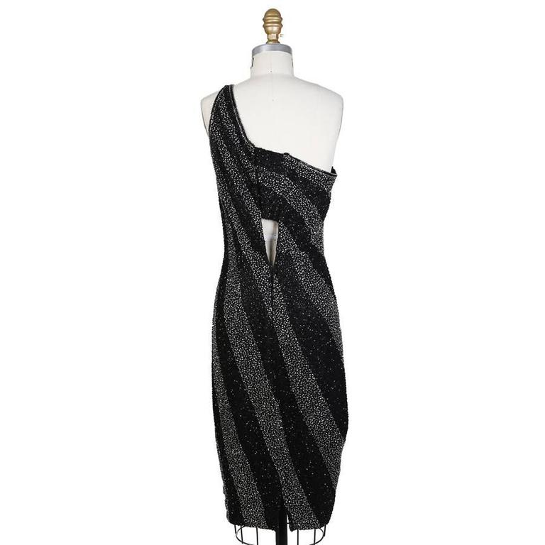 Bob Mackie Beaded Stripes One Shoulder Dress circa 1980s 2