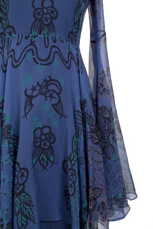 Purple Zandra Rhodes Silk Peasant Dress with Print circa 1970s For Sale
