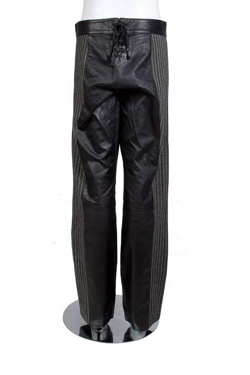 Jean Paul Gaultier Men S Leather Pants With Wool Stripes