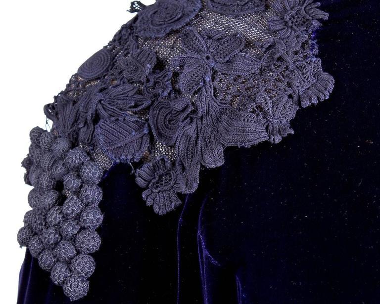 Black Jean Paul Gaultier Couture Deep Purple Velvet Dress with Appliques circa 1990s For Sale