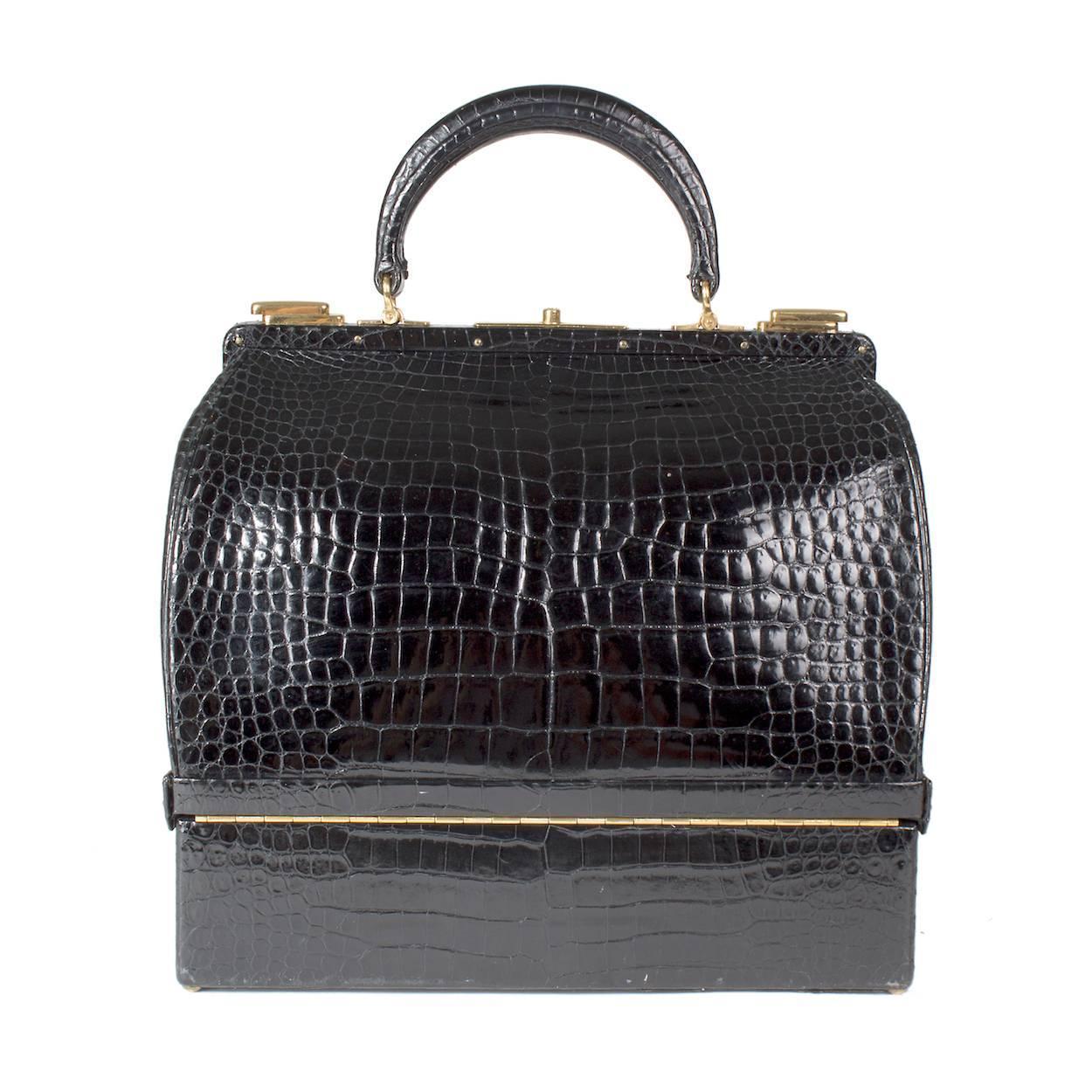 Hermes Vintage Croc Sac Mallete Bag circa 1950s 1960s For Sale at 1stdibs 4b92448af3a3f