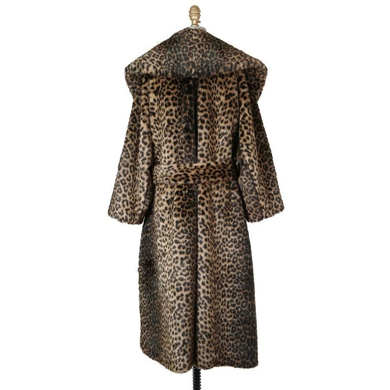 Alaia Faux Leopard Runway Coat with Belt and Oversized Collar circa 1990s 2