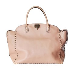 Valentino Nude Leather Rock Stud Tote