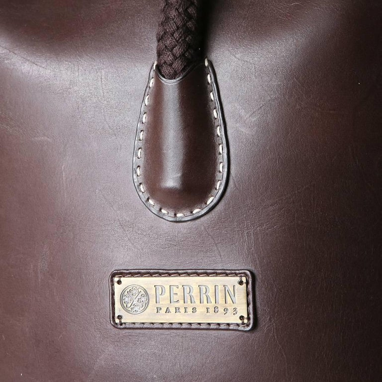 Perrin Paris Chocolate Brown Leather Bucket Bag with Rope Strap In Excellent Condition For Sale In Los Angeles, CA