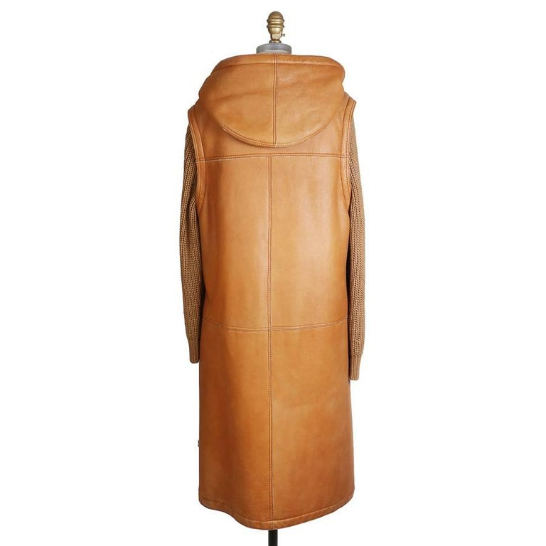 Hermes Leather Coat with Knit Wool Sleeves and Shearling Lining 2