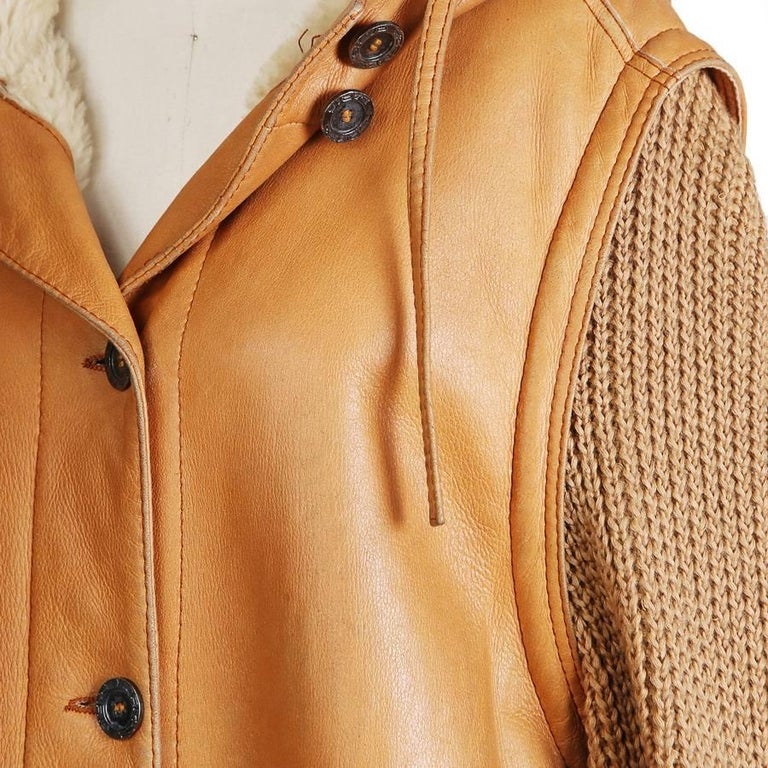 Hermes Leather Coat with Knit Wool Sleeves and Shearling Lining 3