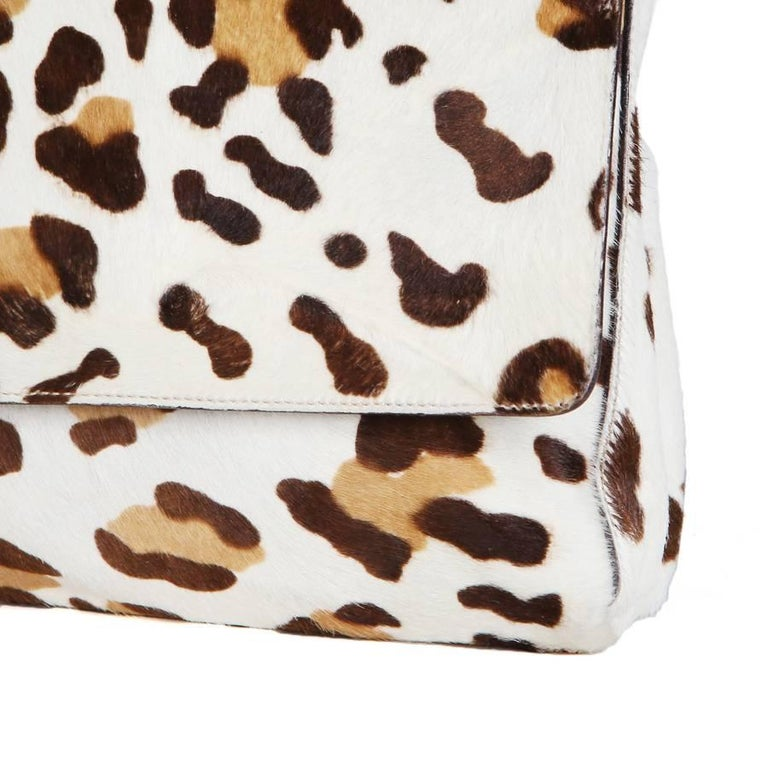 Beige Prada Leopard Print Calfhair Bag with Lucite Chainlink Strap For Sale