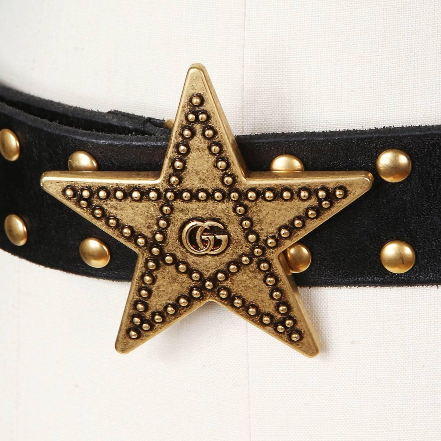 37ed9c94b07 Gucci Star Buckle Sherriff s Black Leather Belt with GG and Studs ...