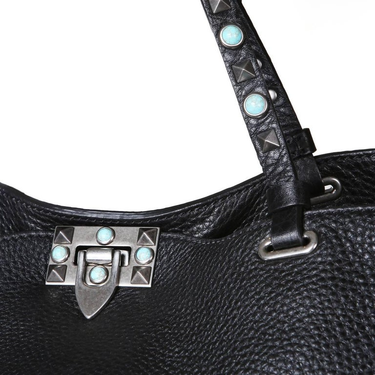 Women's or Men's Valentino Black Leather Rockstud Tote  For Sale