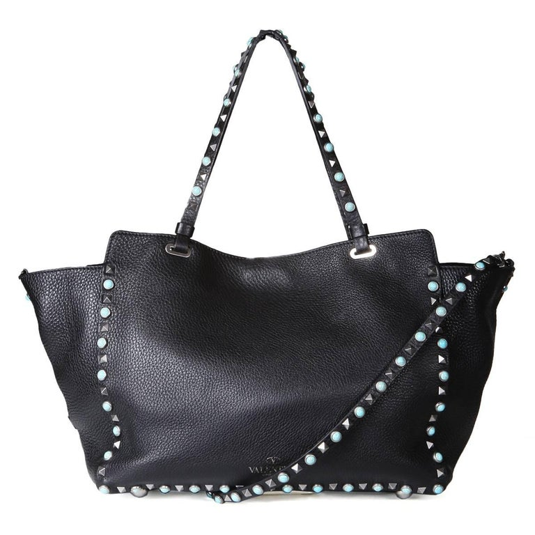Valentino Black Leather Rockstud Tote  In Excellent Condition For Sale In Los Angeles, CA