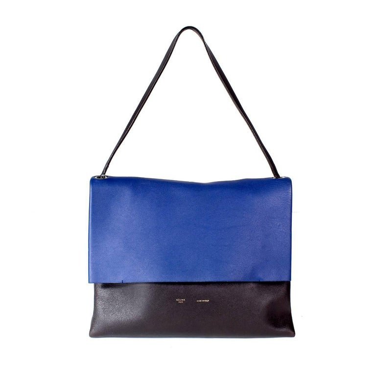 Celine Tri-Color Suede and Leather Shoulder Bag with Matching Pouch Wallet For Sale