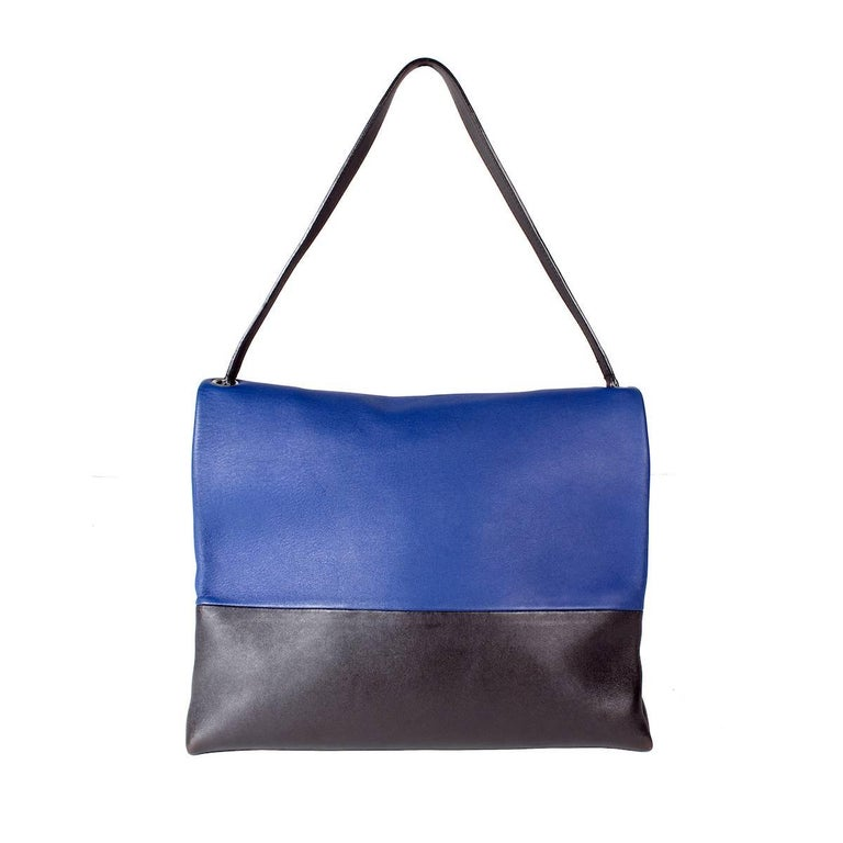 Purple Celine Tri-Color Suede and Leather Shoulder Bag with Matching Pouch Wallet For Sale