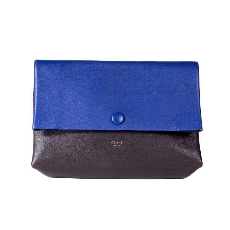 Celine Tri-Color Suede and Leather Shoulder Bag with Matching Pouch Wallet In Excellent Condition For Sale In Los Angeles, CA