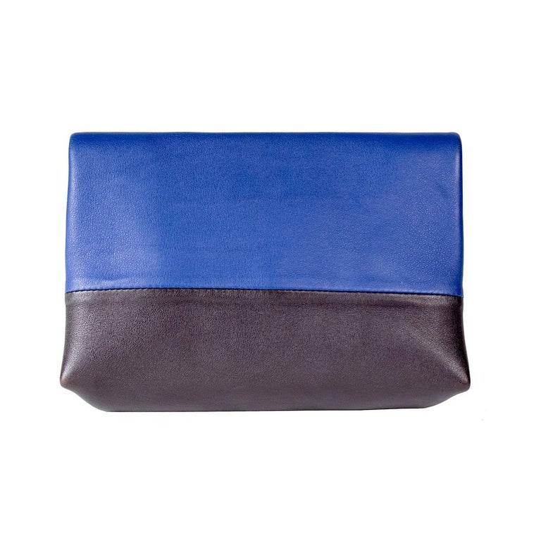 Celine Tri-Color Suede and Leather Shoulder Bag with Matching Pouch Wallet For Sale 1