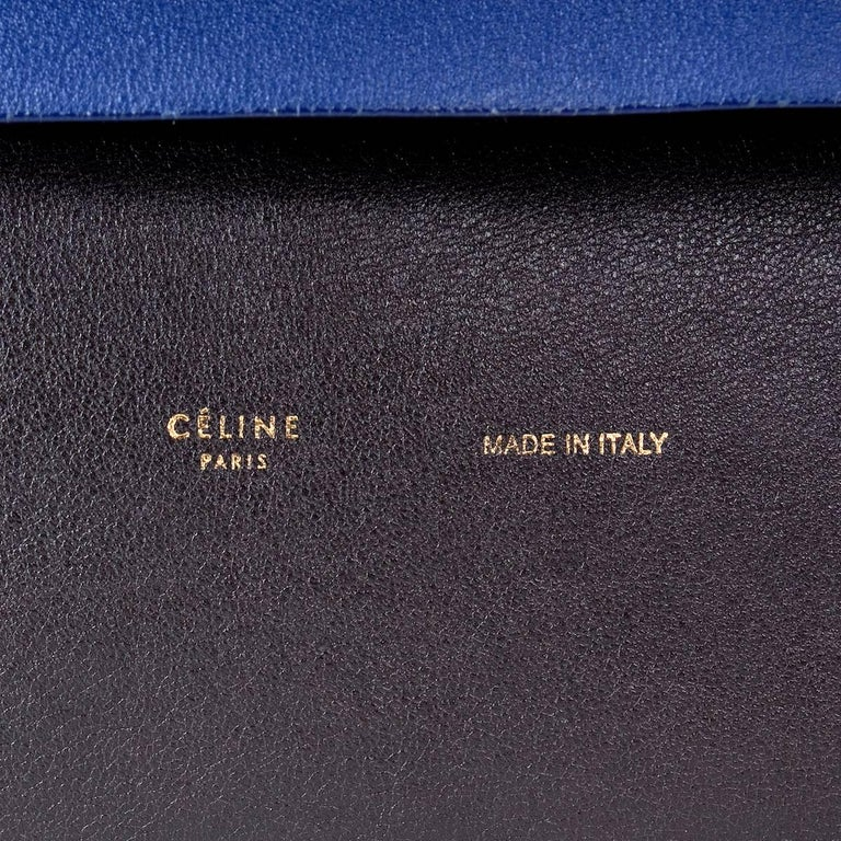 Celine Tri-Color Suede and Leather Shoulder Bag with Matching Pouch Wallet For Sale 2