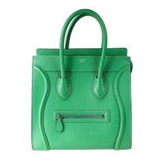 Celine Green Leather Phantom Tote