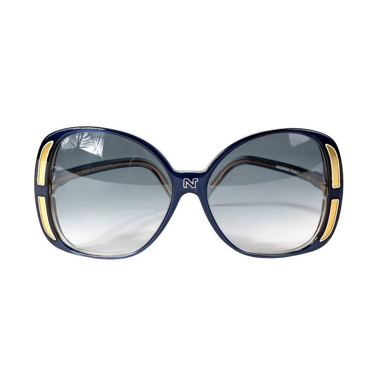 Nina Ricci Oversized Sunglasses in Blue and Gold