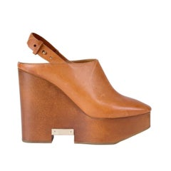 Chloe Tan Leather and Wood Slingback Mule Clog