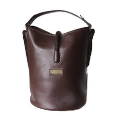 Perrin Chocolate Brown Leather Bucket Bag with Rope Handle Strap
