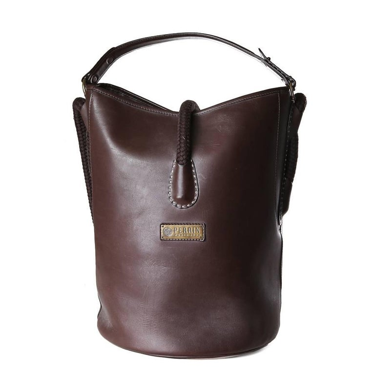 Perrin Chocolate Brown Leather Bucket Bag with Rope Handle Strap For Sale