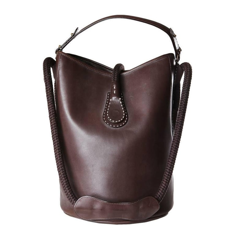 Black Perrin Chocolate Brown Leather Bucket Bag with Rope Handle Strap For Sale