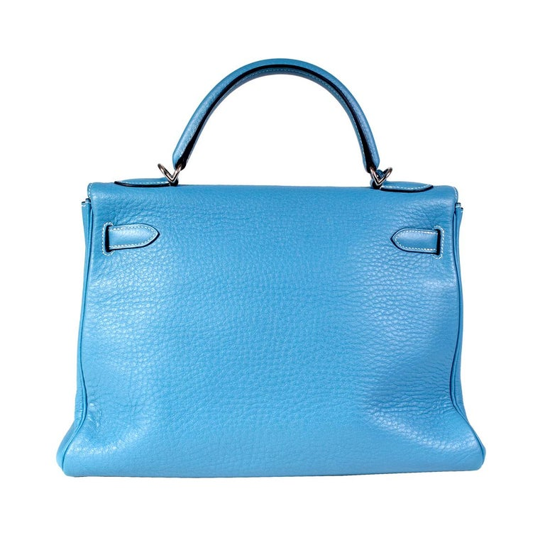 Hermes Blue Jean Togo Leather 32cm Kelly Handbag, 2002 In Excellent Condition For Sale In Los Angeles, CA