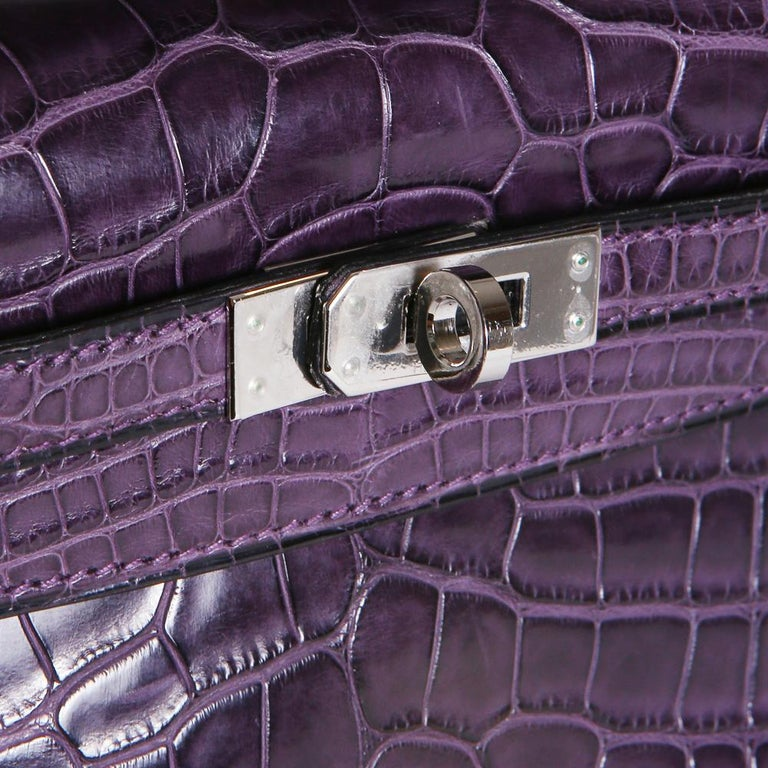 Hermes Purple Croc Pochette, 2008 In Excellent Condition For Sale In Los Angeles, CA