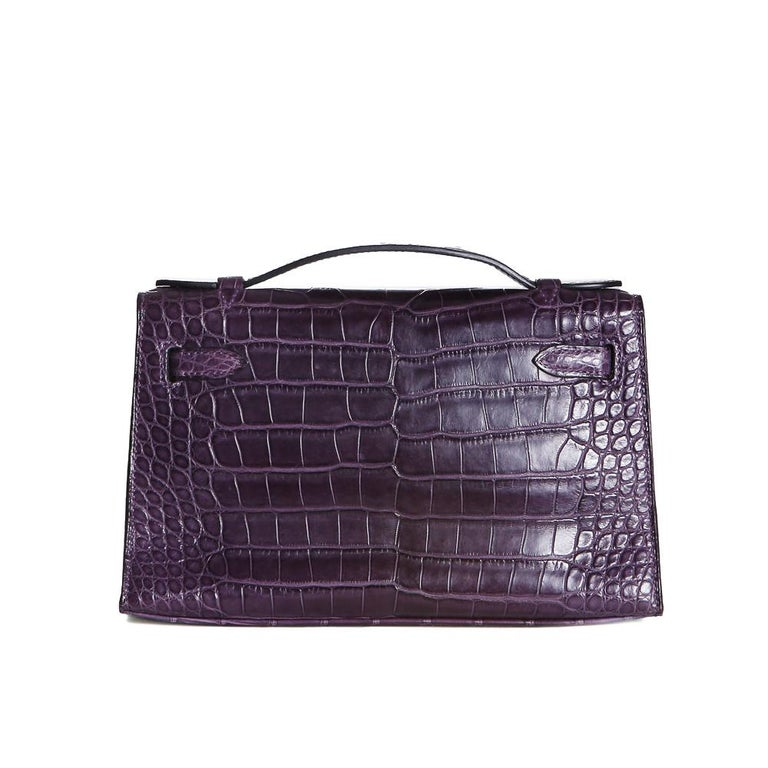 Black Hermes Purple Croc Pochette, 2008 For Sale