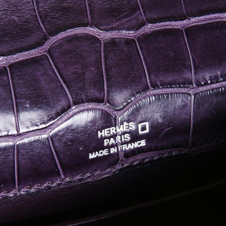 Women's or Men's Hermes Purple Croc Pochette, 2008 For Sale