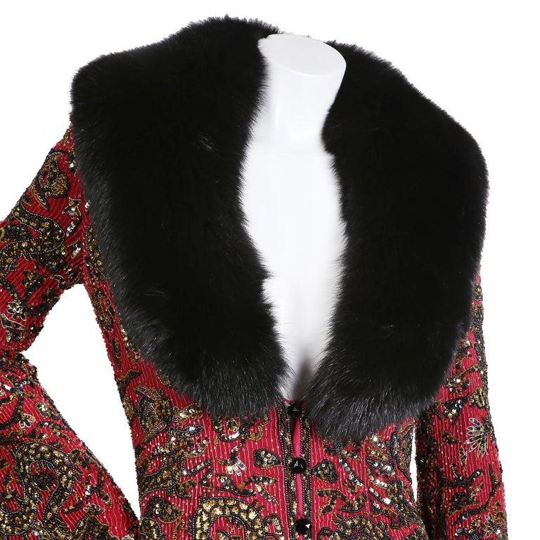 Brown Escada Beaded Long Coat with Fur Collar, circa 1970s For Sale