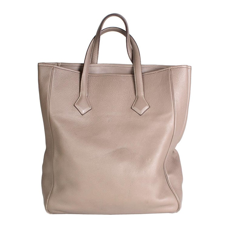 Brown Hermes Victoria 2 Tote in Warm Grey Togo Leather For Sale
