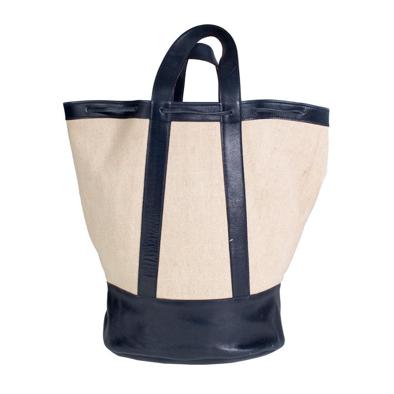 Beige Hermes Navy Leather and Toile Canvas Tote, 1977 For Sale