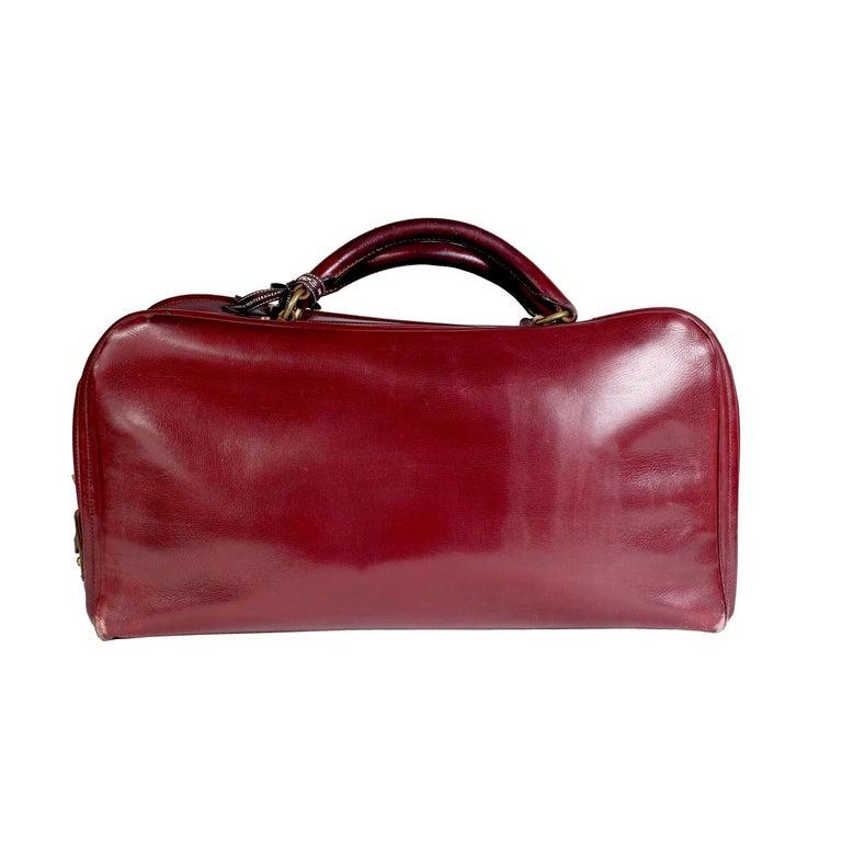 Brown Hermes Burgundy Leather Short Travel Bag For Sale