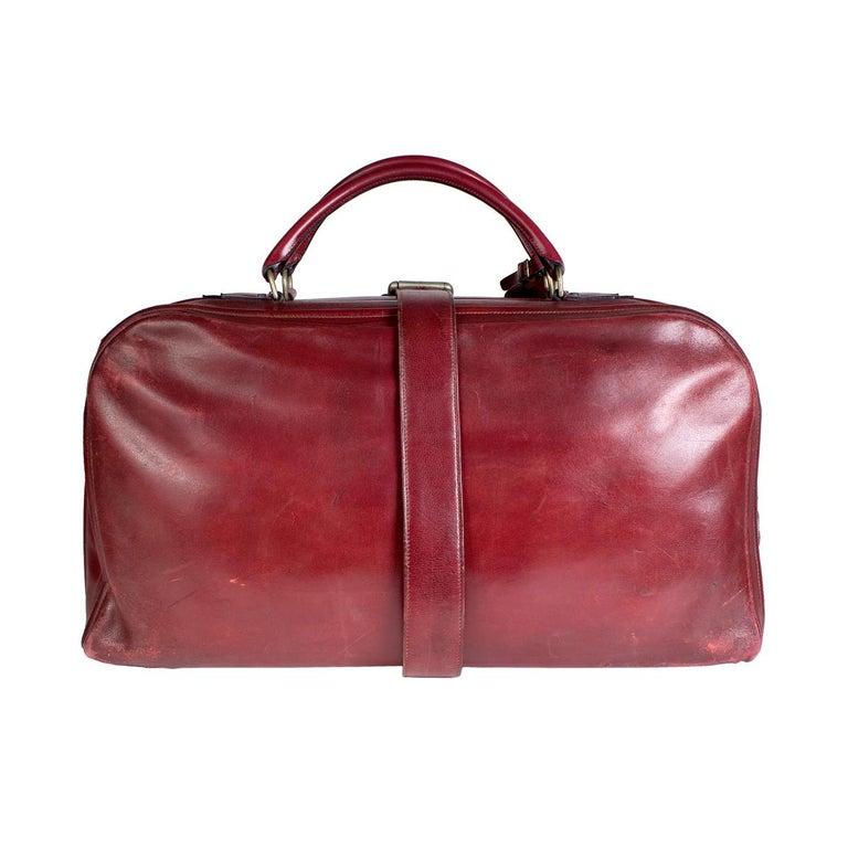 Brown Hermes Burgundy Leather Long Travel Bag For Sale