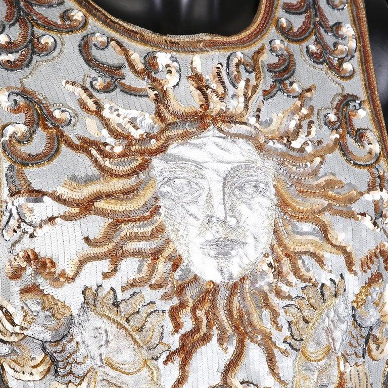 Beige Lesage Gold and Silver Sequin Sun Emblem Vest For Sale
