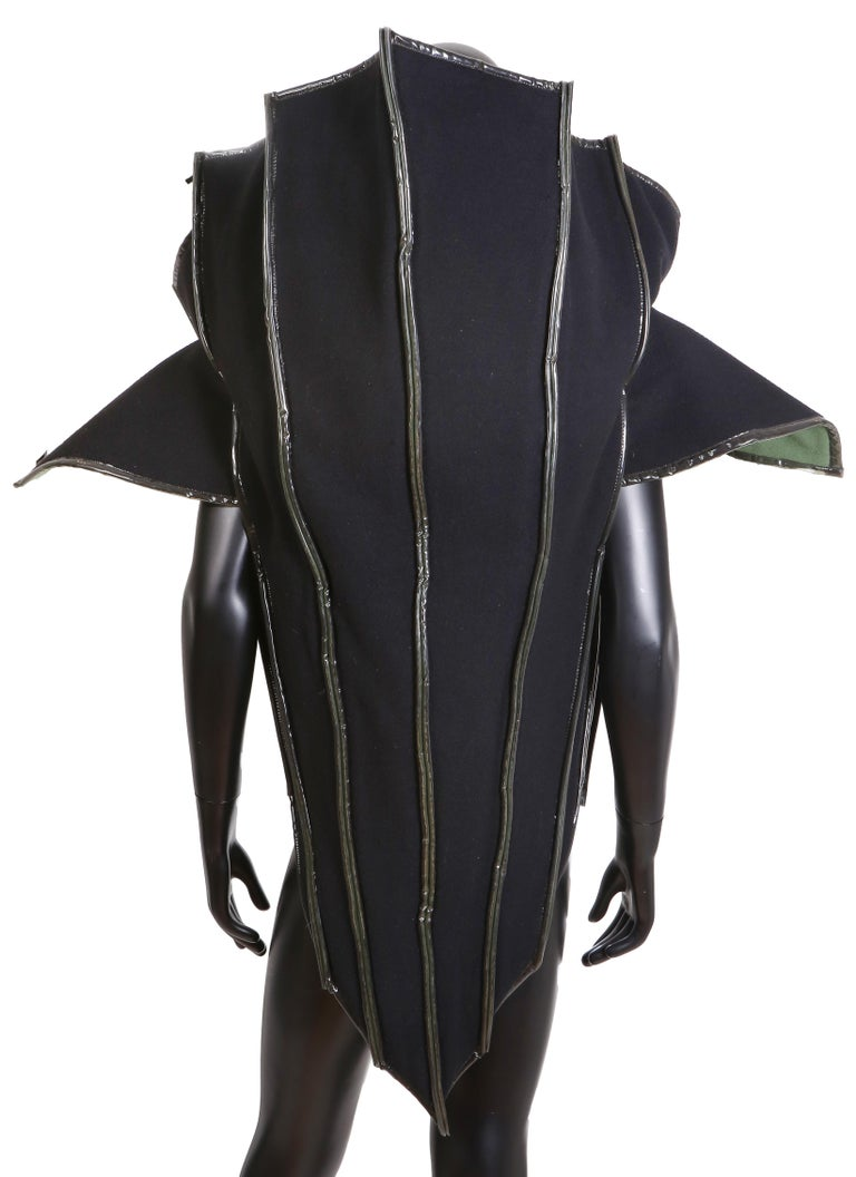 Paco Rabanne Couture Black and Green Architectural and Structured Jacket In Excellent Condition For Sale In Los Angeles, CA