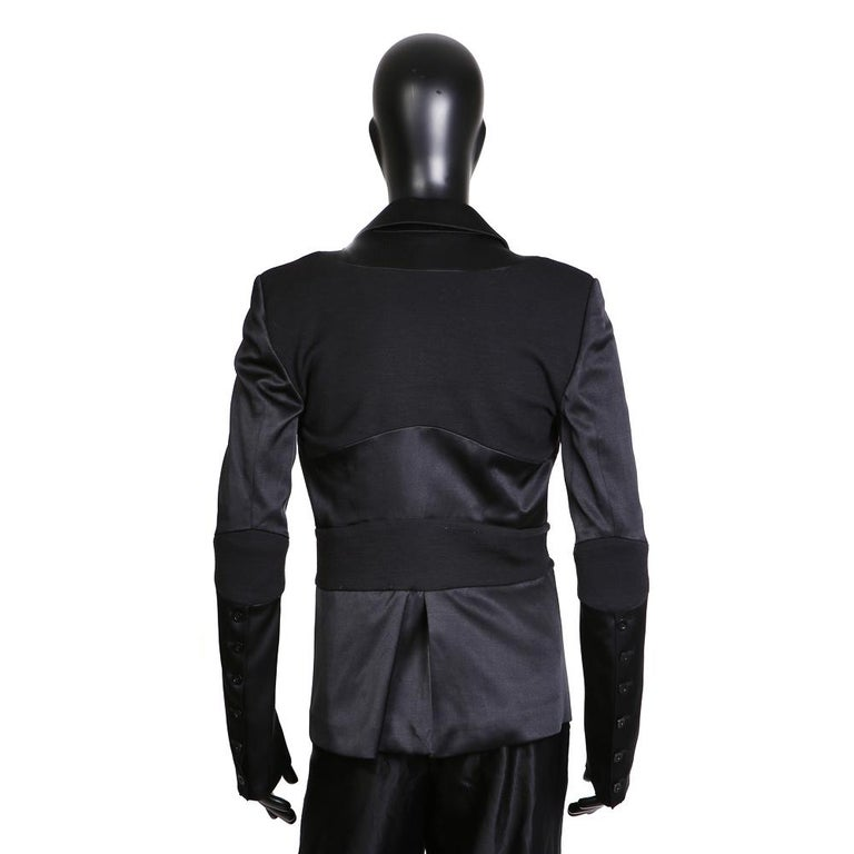 c91c0a8254 Gareth Pugh Black Silk and Wool Blazer with Banding Detail For Sale ...
