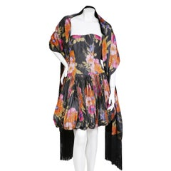 Chloe by Karl Lagerfeld Floral Print Pleated Taffeta Dress with Shawl, c 1990s