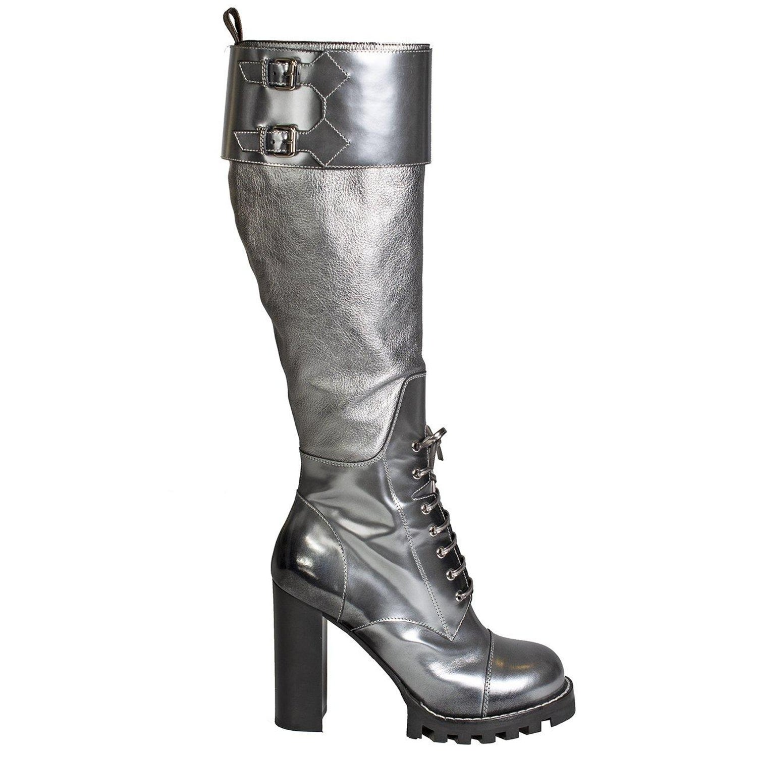 650aafc4ec0a Louis Vuitton Metallic Silver Leather Combat Boots at 1stdibs
